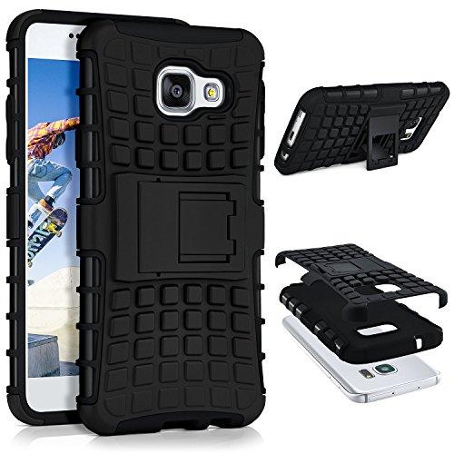 ONEFLOW® Tank Case kompatibel mit Samsung Galaxy A3 (2016) Outdoor Hülle | Panzer Handyhülle mit Ständer - 360 Grad Handy Schutz aus Silikon & Kunststoff, Schwarz