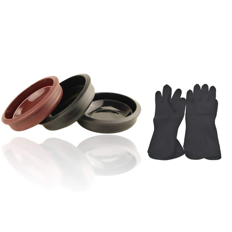 局シェトランド諸島繁栄Tofover 3ピースヘアカラーミキシングボウルと20カウントヘアダイ手袋、黒の再利用可能なゴム手袋、ヘアサロンヘア染色のためのプロのヘアカラーツールキット