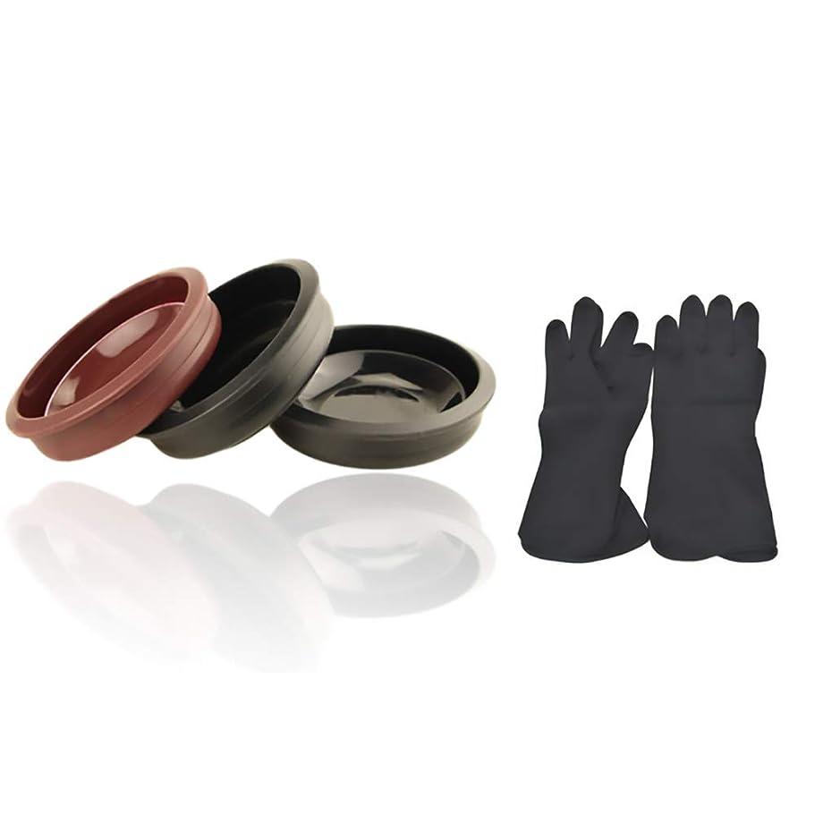 銀行厳しい蛾Tofover 3ピースヘアカラーミキシングボウルと20カウントヘアダイ手袋、黒の再利用可能なゴム手袋、ヘアサロンヘア染色のためのプロのヘアカラーツールキット
