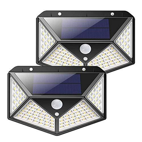 Solarlampen für Außen 100 LEDs 1000 Lumen IP65 270° Solar Aussenleuchte mit Bewegungsmelder Wasserdicht Solarlampen fortgeschritten Solarlampe 3 Modi für Gärten Türe Flur Wege Terrassen(2pack)