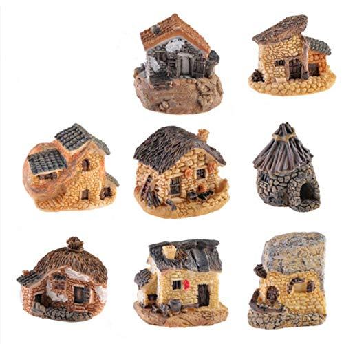 Mini Bonsai Miniature Figurines ,Garden Accessories Miniature Garden Ornaments Bonsai Crafts, Micro Landscape Mini Small House Decoration Garden Bonsai Ornaments DIY Decoration