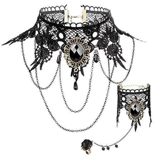 Joeyer Collar de Encaje Gótico Bracelet Accesorios, Gothic Lolita Retro Black Lace...
