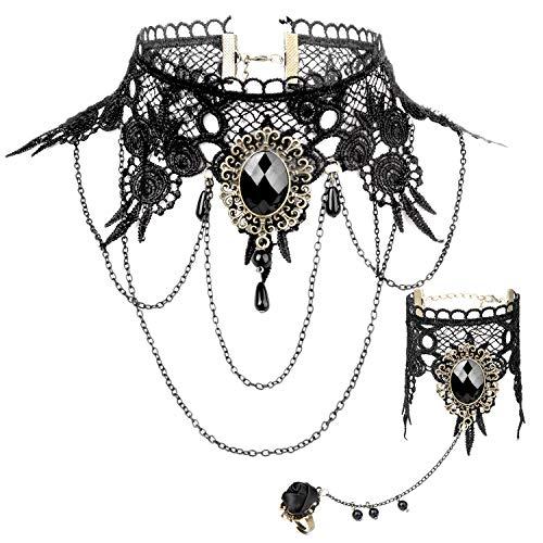Joeyer Collar de Encaje Gótico Bracelet Accesorios, Gothic Lolita Retro Black Lace Vampire Collar Bracelet del Cordón Cadena para el Cumpleaños de Boda Hallowen Navidad Custume