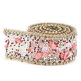 Cinta de diamantes de imitación, adornos de cuentas de diamantes de imitación, cristal para zapatos, bolsa de ropa, decoración de banquete de boda, 2 cm de ancho(rojo + dorado)