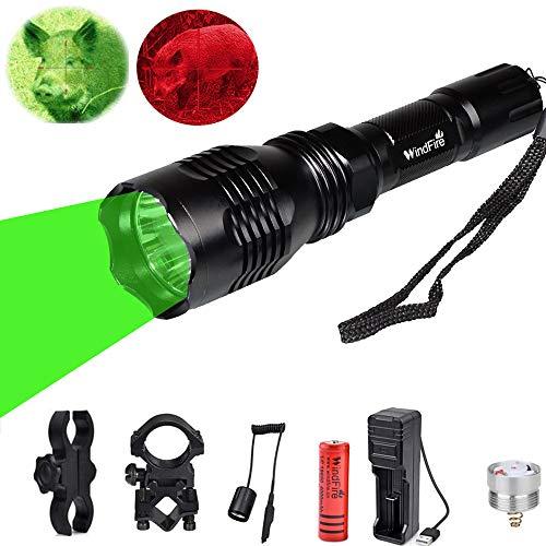 Linterna de caza WindFire con luz roja verde, Antorcha Táctica LED 350 Lúmenes Luz de Caza Coyote Hog Impermeable con Interruptor de Presión, Batería y Cargador