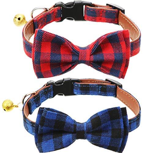 Frienda 2 Stücke Plaid Krawatte Hunde und Katze Halsband Verstellbares mit Glocke für Kleine Mittelgroße Große Hunde Katzen Haustiere