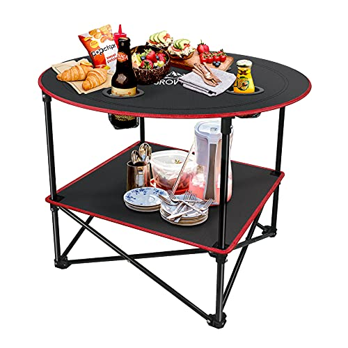 Grovind Portable Canvas Table Camping Tables with 4 Drink Holders and Storage Bag, Folding Picnic Tables for Outdoors, Beach, Camping and Hiking