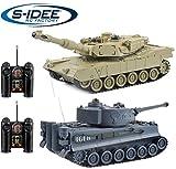 s-idee® 22001 2 x Battle Panzer 99822 1:28 mit integriertem Infrarot Kampfsystem 2.4 Ghz RC RC Ferngesteuerter Panzer Tank Kettenfahrzeug IR Schussfunktion Licht Neu 1:24 Schuss Sound Beleuchtung