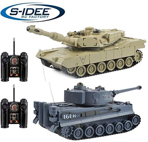 s-idee® 22001 2 x Battle Panzer 99822 1:28 mit integriertem Infrarot Kampfsystem 2.4 Ghz RC RC...