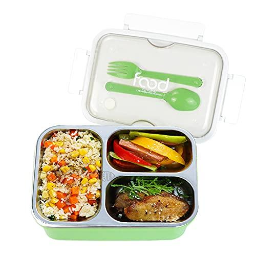 Lunchbox aus Edelstahl,Brotdose Mit Fächern,Bento Box Leakproof,Umweltfreundliche Bento-Box,Frühstücksbox,Auslaufsichere Brotdose mit 3 Fächern,Geeignet für Mikrowelle