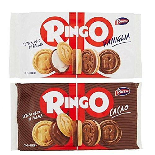 Pavesi Kekse Ringo 330g Kuchen mit Vanille 6 snack cookies riegel + Pavesi Ringo Cacao Kakao 6 snack 330g
