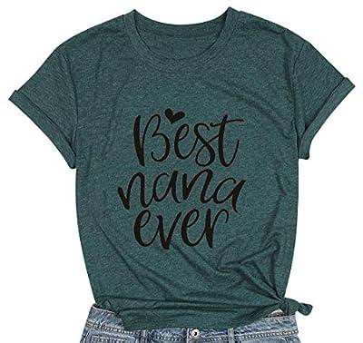 MYHALF Mimi Shirt Women Best Nana Ever Funny Graphic T-Shirt Casual Short Sleeve Tee Tops Green