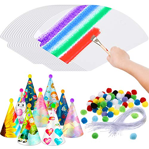 60 Pieces White Paper Party Cone Hats DIY with 60 Pieces Elastic Strings, 60 Pieces Poms and 100 Pieces Adhesive Dispensing for Birthday Party Supplies