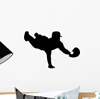 Wallmonkeys WM31189 Baseball Silhouette Wall Decal Peel and Stick Graphic (12 in W x 8 in H)