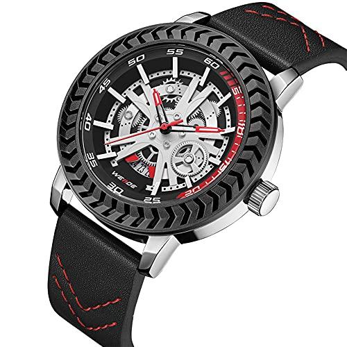 HEEYEE Ver Moda Hueco diseño Deportes Coche Rueda Movimiento de Cuarzo Reloj de Pulsera cronógrafo Correa de Cuero Impermeable,D