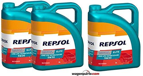 Aceite motor REPSOL Élite Long Life 50700/50400 5W-30 15 LITROS (3x5 litros)