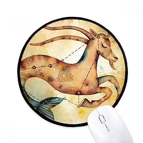 DIYthinker januari december Steenbok sterrenbeeld Zodiac ronde anti-slip Mousepads zwart Titched Edges Game Office Gift