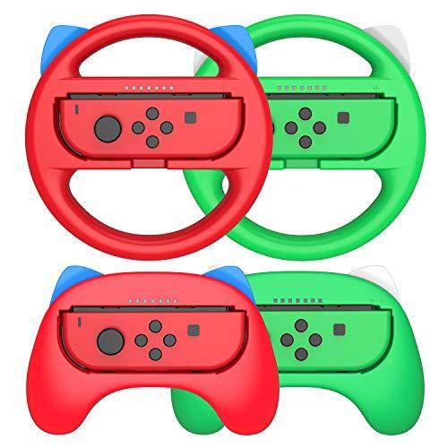 Switch Lenkrad für Nintendo Switch, 2 Packs controller Lenkrad und 2 Packs Joy-Con Griff für Nintendo Mario Kart, Rot und Grün