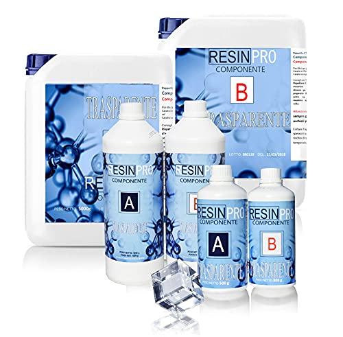 Resina epoxi, Ultra transparente 2-componentes 1,6 Kg Super transparente efecto agua para creación de joyas resina transparent, para artistas, (1,6 kg)