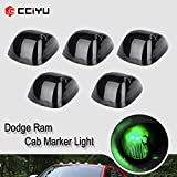 cciyu Replacement fit for 94-98 for Dodge for Ram 2500 3500 Black Smoked Cab Roof Top Marker Running Lamps w/Green LED Light Bulbs(5 Pcs)