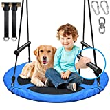 Saucer Tree Swing for Kids Outdoor, 900D 40 inch Oxford Waterproof Seat with 2 Foam Handles,2pcs 10ft Tree Hanging Straps