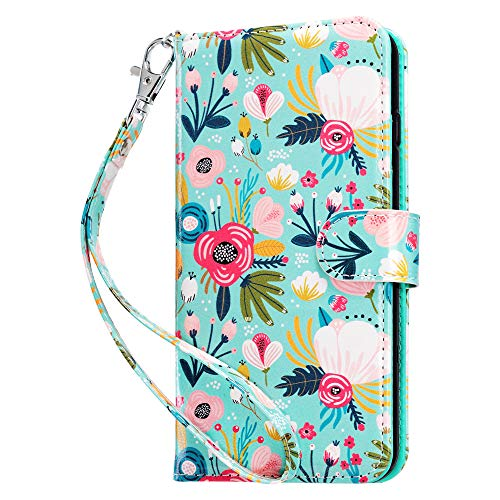 ULAK Wallet Case for iPhone 6s Plus, iPhone 6 Plus Case, Flip Folio PU Leather Kickstand Case with Card Slot Wrist Strap ID Credit Card Pockets for iPhone 6 Plus / 6S Plus 5.5 inch, Mint Floral