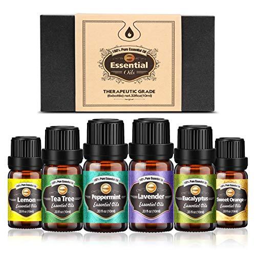 Innoo Tech Huiles Essentielles Aromathérapie 6x10ml,100% Pure et Naturelle, Huile Essentielle pour Diffuseurs: Lavande, Citron, Menthe...