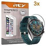 REY 3X Protector de Pantalla para Huawei Watch GT - Watch GT Active - Watch GT 2 42mm, Cristal Vidrio Templado Premium