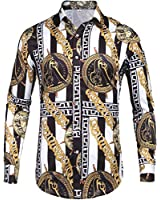Pacinoble Mens Fashion Long Sleeve Street Wear Unique Revel Modern Birthday Polyester Luxury Graphic Print Button Up Shirts (White M)