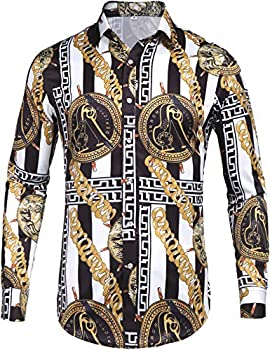 Pacinoble Mens Fashion Long Sleeve Street Wear Unique Revel Modern Birthday Polyester Luxury Graphic Print Button Up Shirts  White M