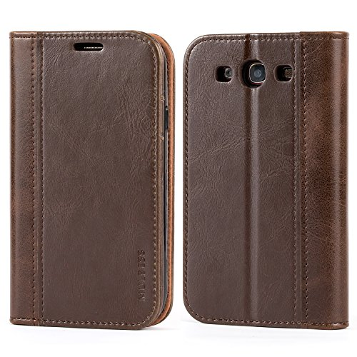 Mulbess Bookstyle Samsung Galaxy S3 Wallet Case,Leather Phone Case with Card Slots for Samsung Galaxy S3 / S3 Neo Cover, Coffee Brown