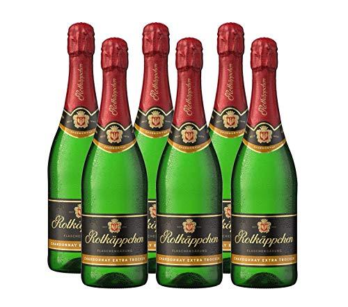 Rotkäppchen Sekt Flaschengärung Chardonnay Extra trocken 6 x 0,75l - Premiumsekt aus edlen Weinen – zum Anstoßen/ für besondere Anlässe /Geburtstag / als Geschenk