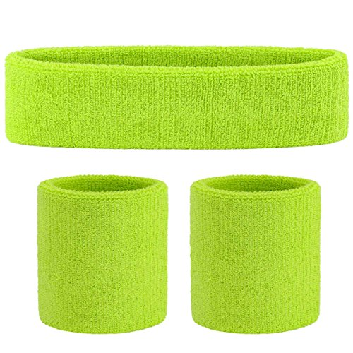 ONUPGO Sweatband Set Sports Headband Wrist Striped Sweatbands Terry Cloth Wristband Athletic Exercise Basketball Wrist Sweatband and Headbands Moisture Wicking Sweat Absorbing Head Band