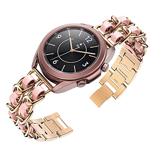 Tensea Metal Band Leather Loop Compatible with Galaxy Watch 3 41mm / Active 2 44 / 40mm and Samsung Galaxy Watch 42mm, Cute Bracelet Quick Release Band Replacement, Chain Wristband with Leather Strap ( Rose Gold-Pink )