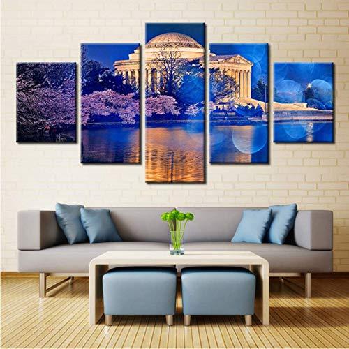 Zybnb 5 Stuk Canvas Schilderij voor Woonkamer Het Paleis De Kersenbloesem Lake Het Witte Huis Het Scenery Picture
