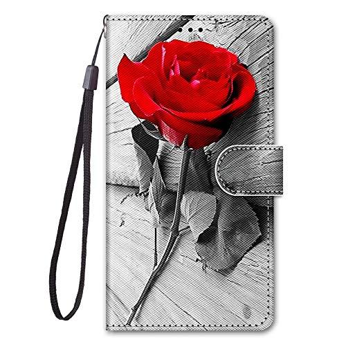 Everainy Kompatibel für Samsung Galaxy J4+/J4 Plus 2018 Hülle Silikon PU Leder Hülle Flip Stoßfest Bumper Kartenfach Brieftasche Magnetisch Klappbar Muster Cover Wallet Hüllen Handyhülle (Rose)