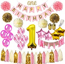 1st Birthday Girl Decorations | Mega Bundle! | With High Chair Banner for Baby | Discount Direct Mega Bundle Kids Party Decorations - Pink & Gold Girls Set | #1 Birthday Balloon, Marble & Star Shaped Balloons, O'N'E Cake Topper, Pom Poms, Happy Birthday Banner & Much MORE! High Quality