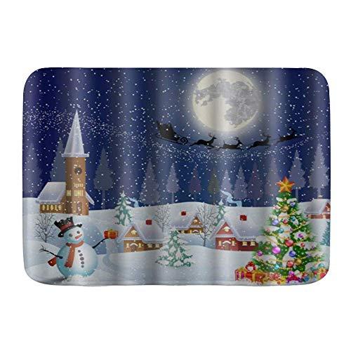 Fußmatten, Weihnachten Schneemann Weihnachtsbaum Santa Schlitten Mond Schnee und Sterne drucken, Küche Boden Bad Teppich Matte Saugfähig Innen Badezimmer Dekor Fußmatte rutschfest