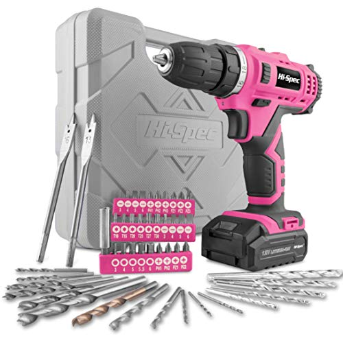 Hi-Spec 50 Piece 12V 1300mAh Li-ion Drill Driver & Multi-Bit Set for DIY Power Driving & Drilling. Two Gears Variable Speed Switch & 20Nm Torque for Metal, Wood & Masonry. All in a Carry Case – Pink