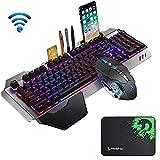 Ensemble clavier et souris sans fil rechargeables à sensation mécanique 2,4G, capacité de 3 000 mAh, clavier de jeu étanche rétro-éclairé à LED + souris 2400 DPI à 6 boutons