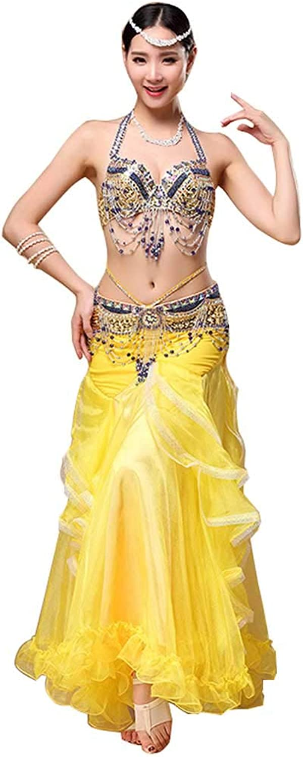 Belly Dance Performance Exercise Clothes,Handembroidered Bra Bag Hip Skirt Suit,Professional Women's Belly Dancewear suit