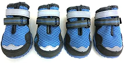 Xanday Breathable Dog Boots,Mesh Dog Shoes,Paw Protectors with Reflective and Adjustable Straps and Wear-Resisting Soles,4pcs (8,Blue)