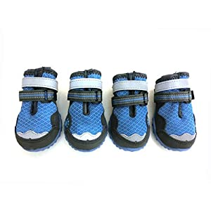 Xanday Breathable Dog Boots,Mesh Dog Shoes,Paw Protectors with Reflective and Adjustable Straps and Wear-Resisting Soles,4pcs(3,Blue)