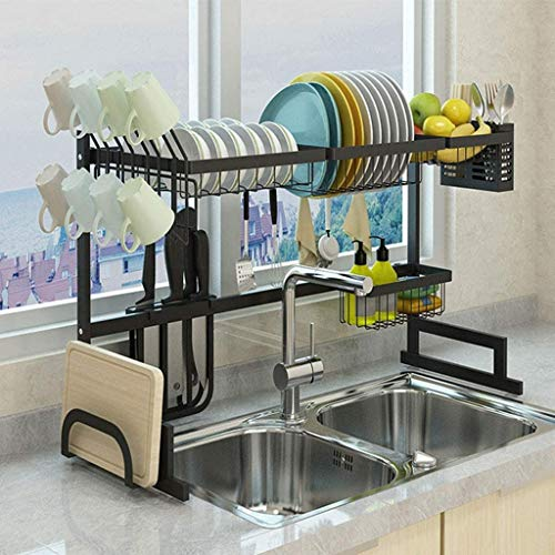 ZOUSHUAIDEDIAN Dish Drying Rack Over The Sink -Large Dish Rack Drainer for Kitchen Organization Storage Space Saver Shelf Holder with 8 Utility Hooks Dish Rack Over Sink(Black)