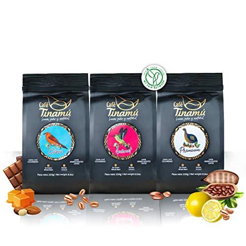 Café Tinamú Probierset | 3x 250 Gramm | Arabica Kaffeebohnen für Vollautomaten | Bekömmlich und vollmundig