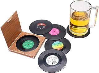 6 Pcs Black CD Record Coasters