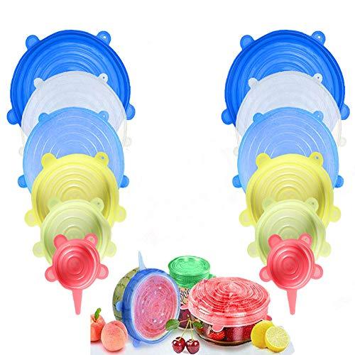 Couvercles extensibles en silicone, couvercles alimentaires en silicone Mutlicolor, sans BPA et extensibles pour s'adapter à diverses formes de contenants, vaisselles, bols...