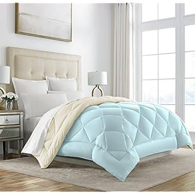 Sleep Restoration Goose Down Alternative Comforter - Reversible - All Season Hotel Quality Luxury Hypoallergenic Comforter - King/Cal King - Aqua/Ivory