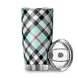 Niersensea Tazas de acero inoxidable, diseño de cuadros de Escocia, taza de doble pared al vacío, taza de viaje con tapa a prueba de salpicaduras, taza de café, taza térmica blanca, 600 ml