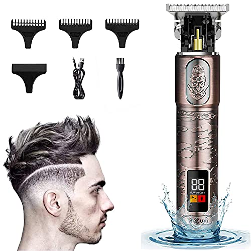 Ornate Hair Clippers for Men, Suttik New Cordless Edgers Clippers Professional Hair Trimmers for Barber Pro Zero Gapped T-blade Trimmer with LCD, Waterproof, Gold